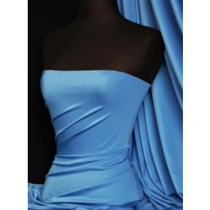 Azure Blue Shiny Lycra 4 Way Stretch Fabric Q54 AZBL