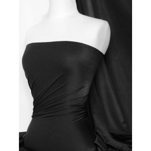 Clearance (170 cms) Black Shiny Lycra Heavyweight 4 Way Stretch Material SQ245 BK
