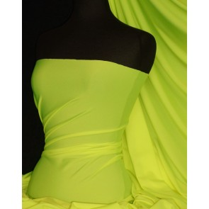 Neon Yellow Shiny Lycra 4 Way Stretch Fabric Q54 NYL