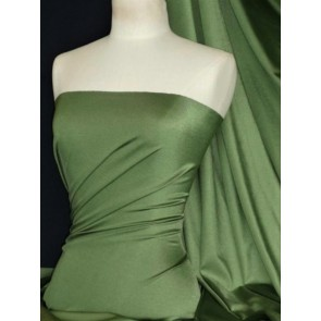 Khaki Green Shiny Lycra Stretch Fabric Q54 KH