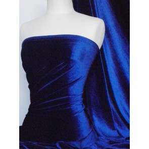 Electric Blue Velvet/Velour 4 Way Stretch Spandex Lycra Fabric Q559 ELCBL