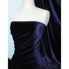 Navy Velvet / Velour 4 Way Stretch Spandex Lycra Q559 NY