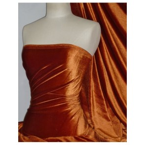 Rust Velvet/Velour 4 Way Stretch Spandex Lycra Fabric Q559 RST