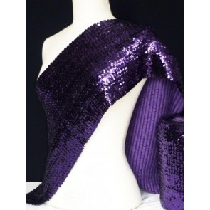 Purple Sequins Stretch Heavy Knit Fabric Material Q566 PPL