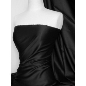 Black 100% Sheen Cotton Poplin Fabric Material Q596 BK