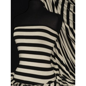 Stripe Black/Ivory 100% Viscose Stretch Fabric Q627 BKIV