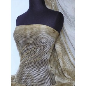 Light Khaki Tie Dye Fishnet 4 Way Stretch Fabric Q713 LTKH