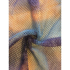Orange/Purple Tie Dye Fishnet 4 Way Stretch Fabric Q713 ORPPL