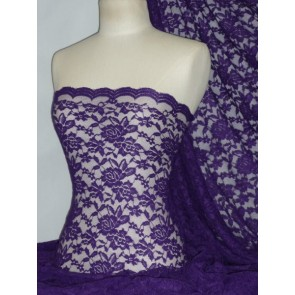 Purple Scalloped 4 Way Stretch Rose Design Lace Q723 PPL