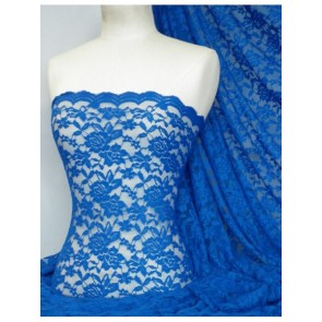 Royal Blue Scalloped 4 Way Stretch Rose Design Lace Q723 RBL