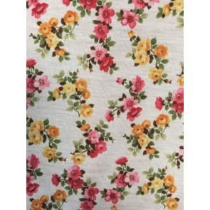 Pink/Orange Daisy 100% Viscose Stretch Fabric Q734 IVMLT