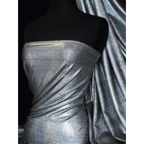 Black Mystique Hologram Foil Nylon Lycra 4 Way Stretch Fabric Q781 BK