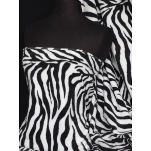 Black/White Polar fleece- Anti Pill Washable Soft Fabric Zebra Q816 BKWHT
