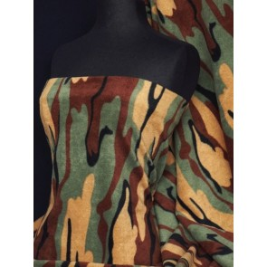 Khaki Camouflage Polar Fleece- Anti Pill Washable Soft Q817 KH