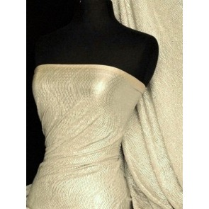 Stone/Silver Bodré Crinkle Metallic Foil Stretch Fabric Q827 STNSLV