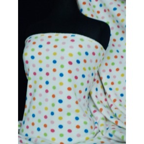 Cream/Multi Polka Dot Polar Fleece- Anti Pill Washable Fabric Q863 CRMLT