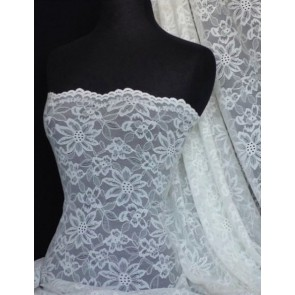 Angel White Scalloped Flower 4 Way Stretch Lace Q891 AWHT