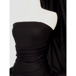 Black Rib Sweater Knit Acrylic Soft Tubular Fabric Q954 BK