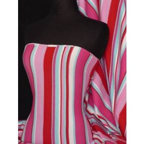 Red Multi Stripe Soft Fine Rib 100% Cotton Knit RD-MLT