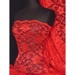 Red Scalloped Stretch Lace Lycra Fabric Q615 RD