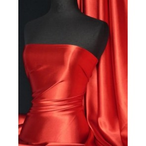 Red Medium Weight Satin Fabric Q243 RD