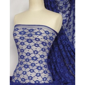 Royal blue daisy stretch lace fabric Q906 RBL