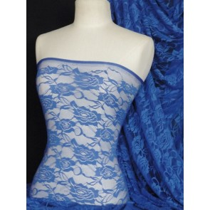 Royal blue rose flower stretch lace fabric Q963 RBL