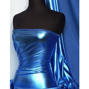 Royal Blue Metallic Foil 4 Way Stretch Lycra Q404 RBL