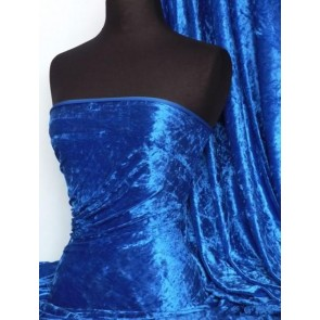 Royal Blue Crushed Velvet/ Velour Stretch Fabric Q156 RBL