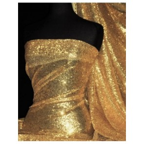 Gold Showtime All Over Stitched 3mm Sequins Fabric SEQ53 GLD