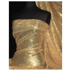 Matt Gold Showtime All Over Stitched 3mm Sequins Fabric SEQ53 MTGLD