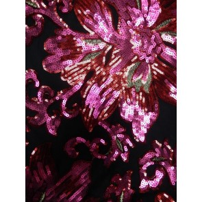 Moulin Rouge Black Showtime All Over Stitched 3mm Sequins Fabric SEQ58 BKRDPN