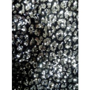 Silver Dazzle Showtime All Over Stitched 3mm Sequins Fabric SEQ56 BKSLV