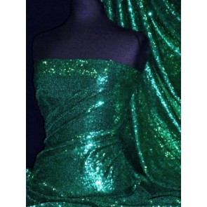 Seaweed Green Showtime All Over Stitched 3mm Sequins Fabric SEQ53 SWG