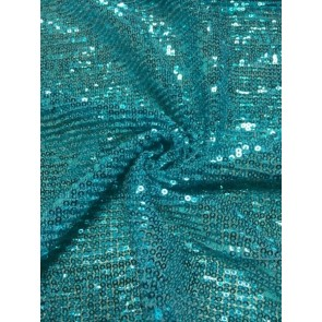 Turquoise Glitz Showtime Fabric All Over Stitched Sequins Pleated Mesh SEQ60 TQ