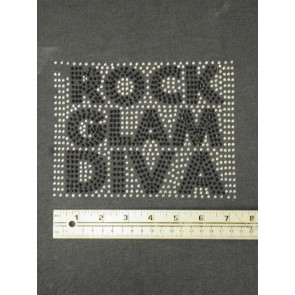Silver/Black Rock Glam Diva Iron On Rhinestud DM1 SLVBK