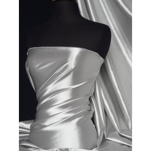 Silver grey fluid super soft satin stretch Q855 SLVGR