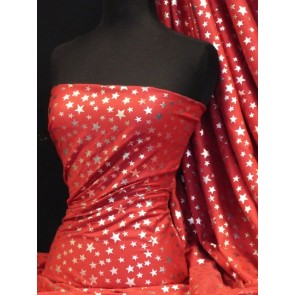 Silver Stars On Red Cotton Interlock Jersey Q838 RD