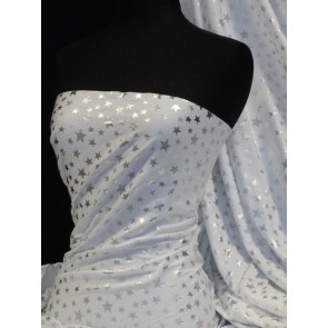 Silver star on white cotton lycra jersey fabric Q839 WHT