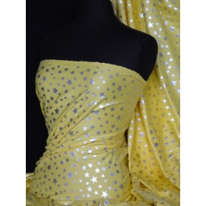Silver Stars On Yellow Cotton Interlock Jersey Q838 YL