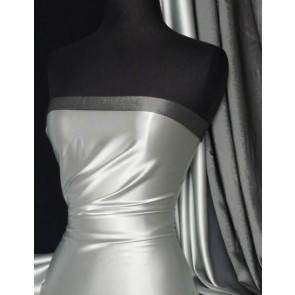 Silver Grey Medium Weight Satin Fabric Q243 SLVGY