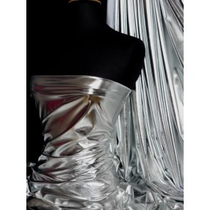 Silver wet look foil 4 way stretch lycra fabric NG253 SLV