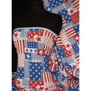 Seconds (2 metres) Blue/Red American Flag Stretch Light Cotton Fabric SJ995 BLRD