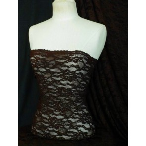 Brown Corded Stretch Lace Material / Fabric SQ18 BR
