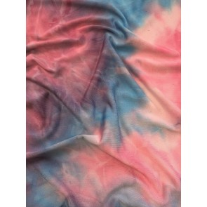 Unicorn Pink/Blue Tie Dye Silk Touch 4 Way Stretch Fabric SQ183 PNBL