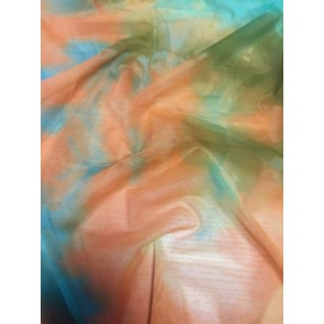 Tropical Tie Dye Orange/Green Power Mesh/ Net 4 Way Stretch Material SQ184 ORGRN