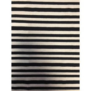 Stripe Black/Ivory 100% Viscose Stretch Fabric SQ187 BKIV
