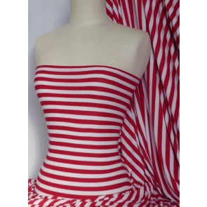 Clearance Stripe Red/White 100% Cotton Interlock Knit Soft Jersey T-Shirt Fabric SQ188 RDWHT
