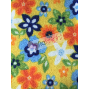 Summer Flowers Yellow/Multi Polar Fleece Anti Pill Washable Soft Fabric SQ227 YLMLT