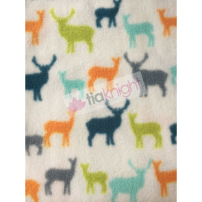 Deers Ivory/Multi Polar Fleece Anti Pill Washable Soft Fabric SQ234 IVMLT